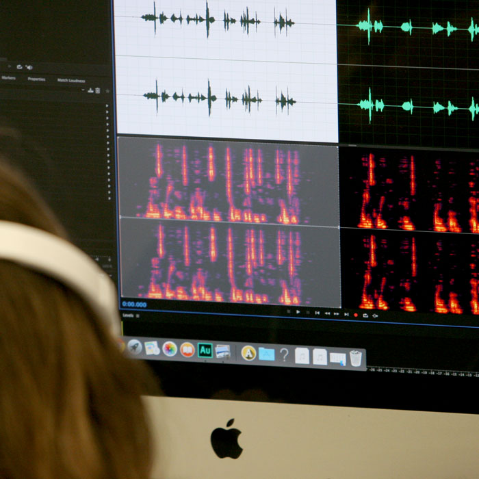 Student editing sound on computer