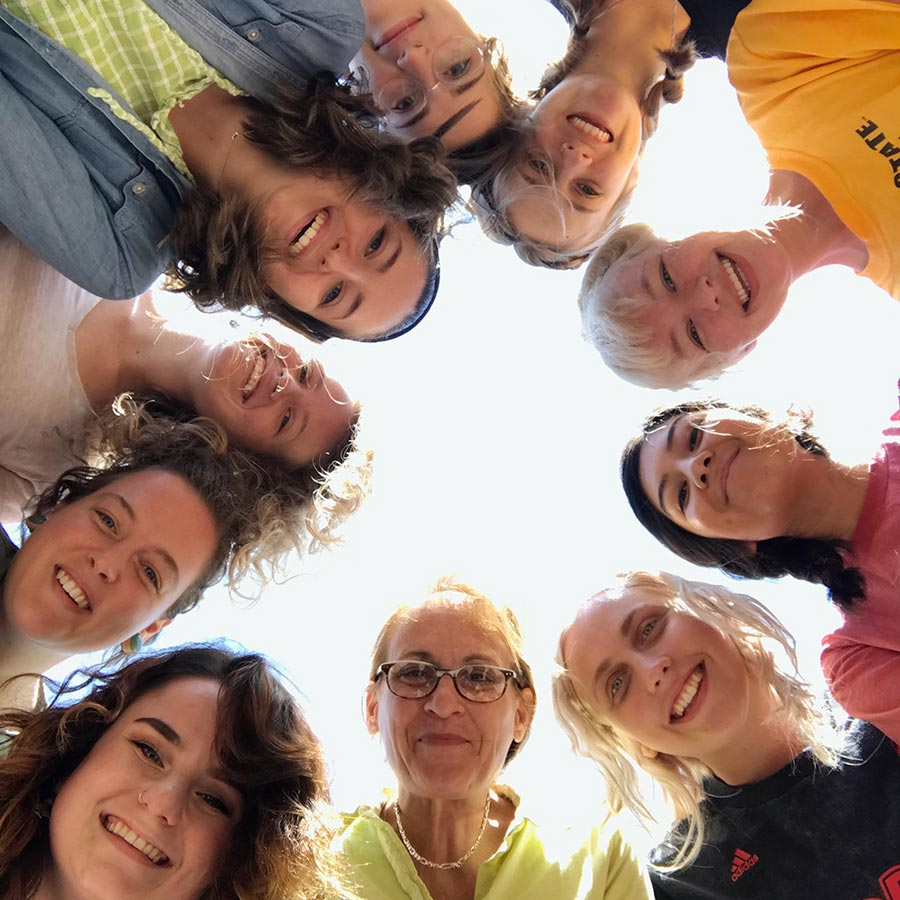 Lisa Stinson and students in Spain