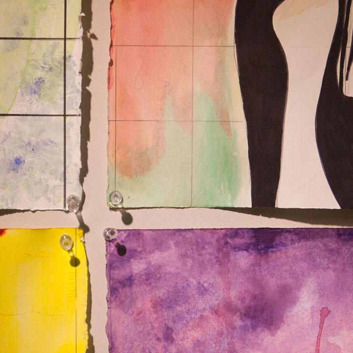 Detail of paintings in studio