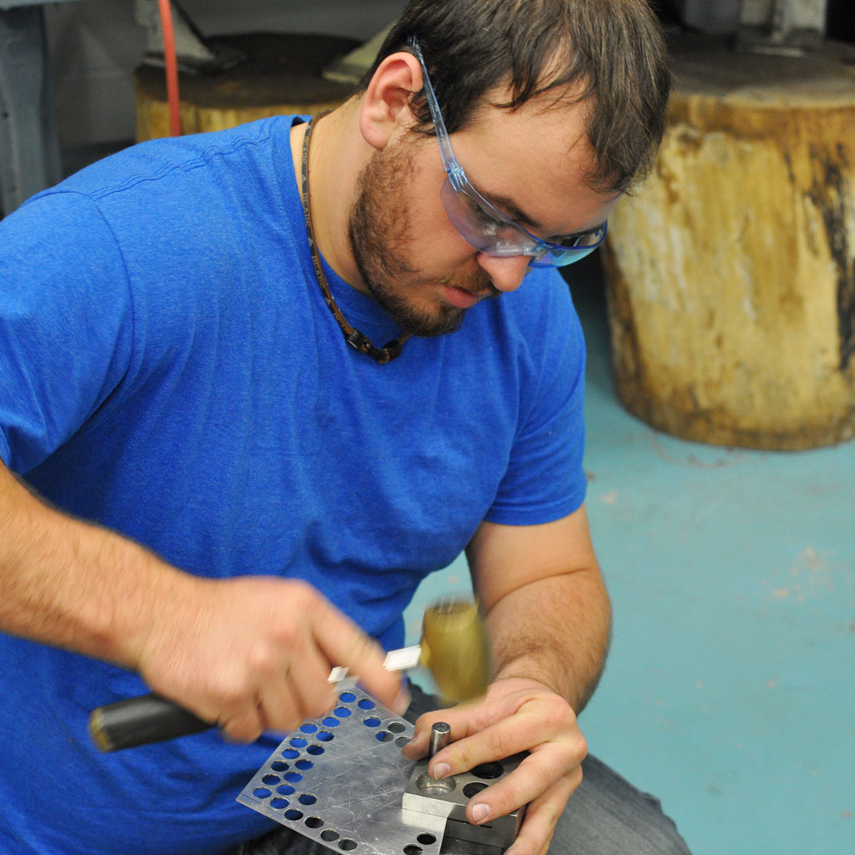 Disc cutting in the metals studio