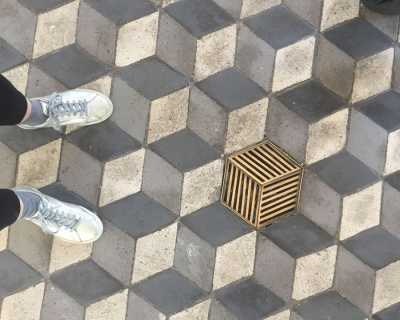 Shoes and pattern on ground