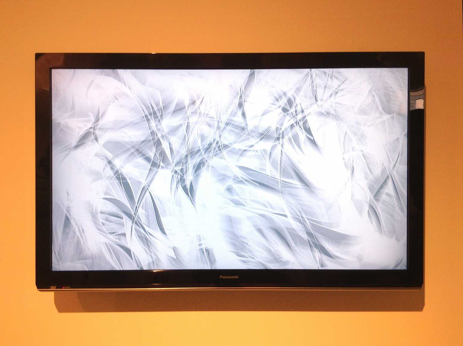 Installation view of Air Current(s), a live, animated wind drawing