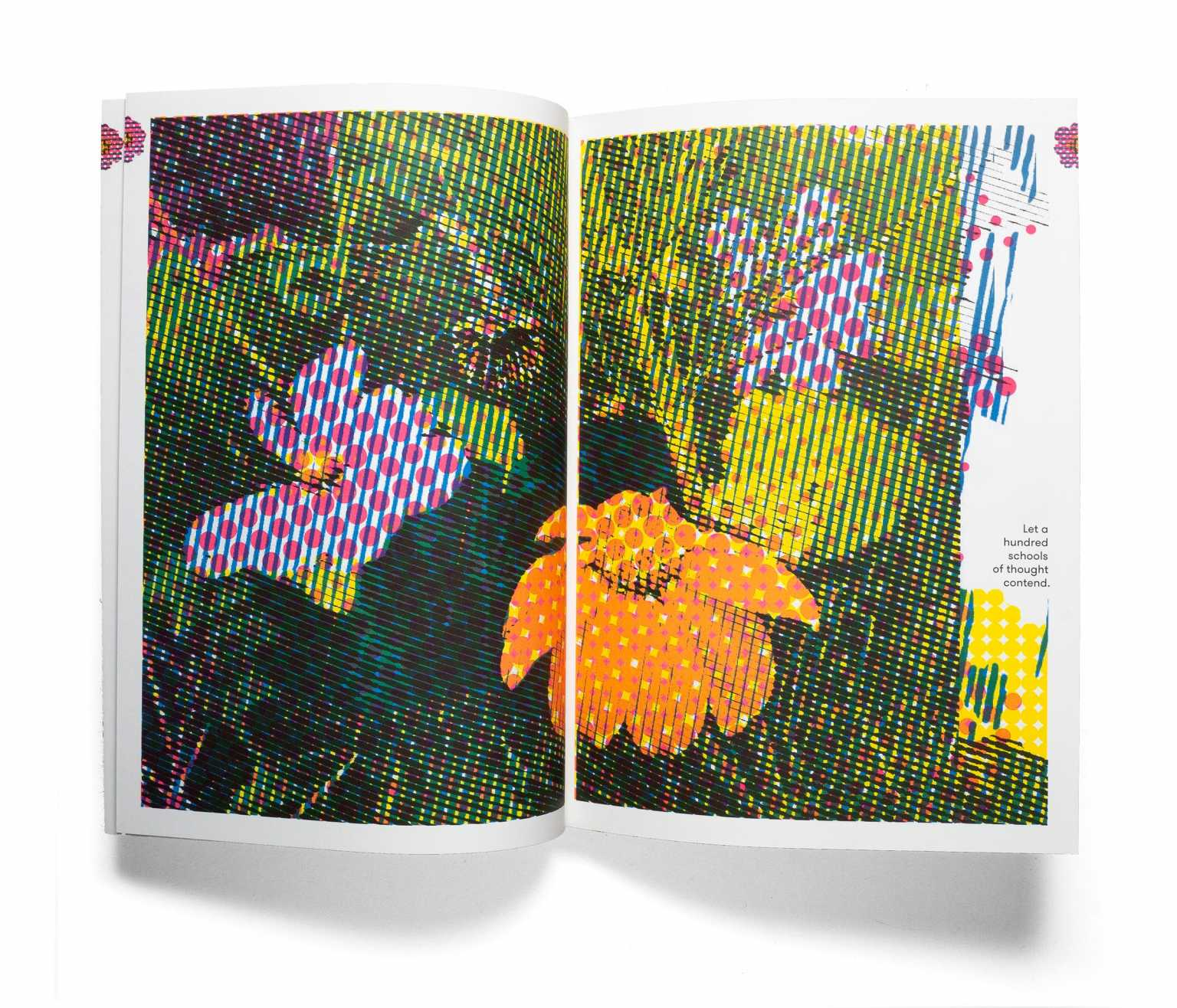 Page spread from artist's book One Hundred Excellent Flowers, 2019, offset lithography, 62 pages