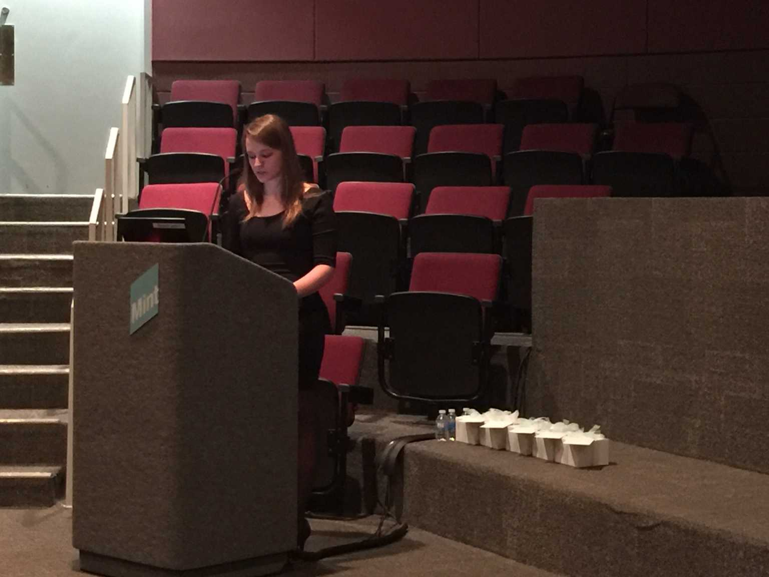 Senior Christine Perry presents her research at the 27th Annual Mint Museum Art History Symposium