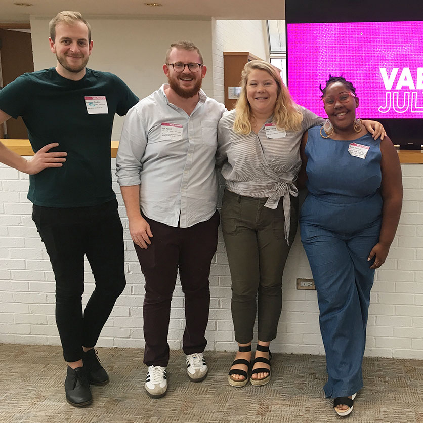 Paige Eyberg with VAE director Brandon Cordrey, and staff members Monet Marshall and Kyle Hazard, an App State Art Management and Studio Art alum